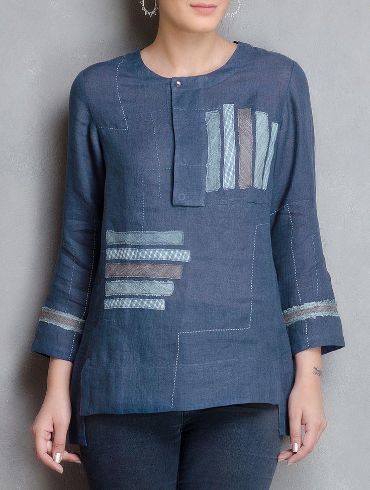Buy Indigo Patchwork Linen Tunic Online at Jaypore.com