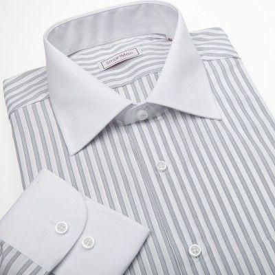 Pánská košile šedý proužek - bílý límeček