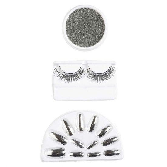 Make-up set in de kleur zilver. Deze set bestaat uit nepnagels, nepwimpers en oogschaduw. U kunt deze set ook gebruiken om uw zilveren outfit compleet te maken.