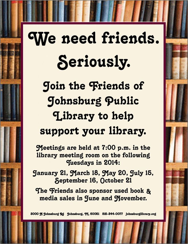 FRIENDS OF THE LIBRARY Meeting | Johnsburg Public Library District