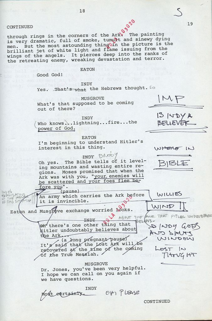 """""""That's the handwriting of a carpenter"""": Harrison Ford's original script notes from Raiders of the Lost Ark"""