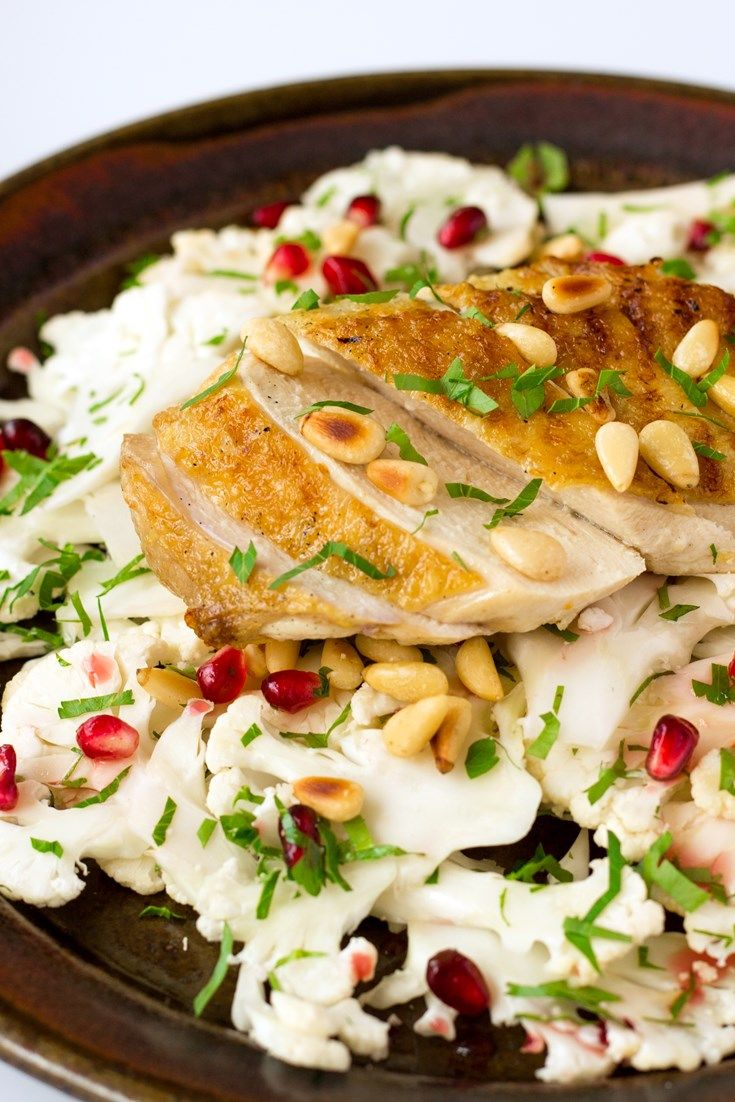 Chargrilled chicken with cauliflower, pomegranate and toasted pine nut salad