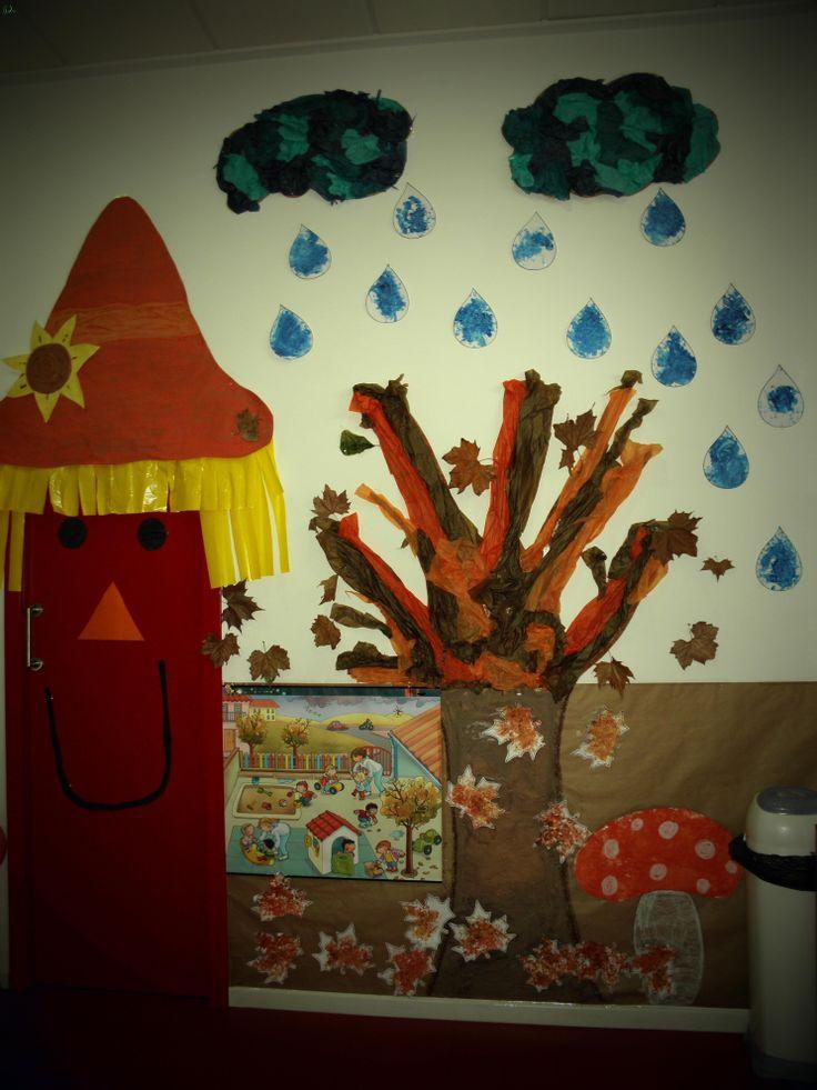 Mural del oto o creado para con la ayuda de mis alumnos de for Decoracion otono infantil