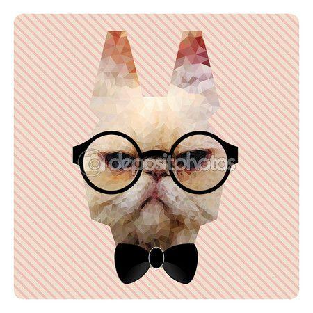 Полигональные моды портрет битник Cat розовые полосы фонов — стоковая иллюстрация #68841419