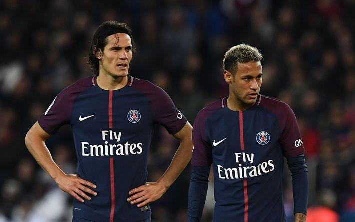 Télécharger fonds d'écran Neymar, Edinson Cavani, PSG, soccer, football stars, Ligue 1, Paris Saint-Germain, Cavani, footballers, Neymar JR