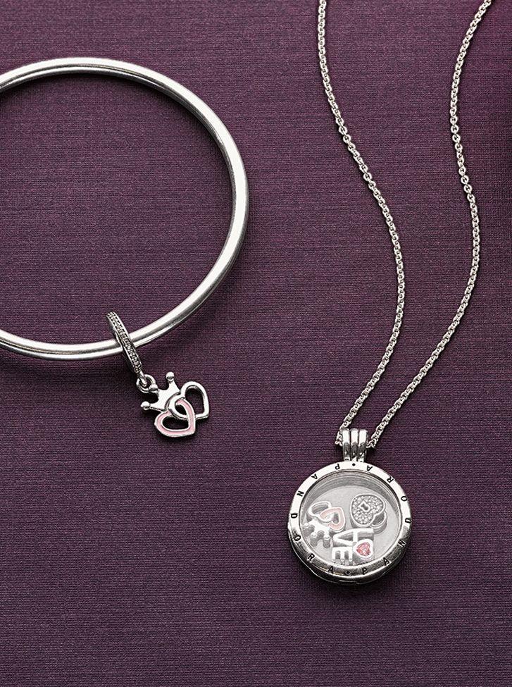 Cherish your romantic memories with this sweet trio of petite elements for your Floating Locket. #PANDORA #PANDORAnecklace #PANDORAbracelet