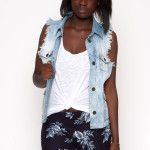 $89.00 Distressed Denim Vest