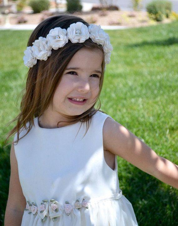 Flower Girl Headband Wedding Headpiece by LilMajestyBoutique