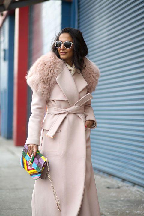 Nausheen Shah in Alberta Ferretti coat
