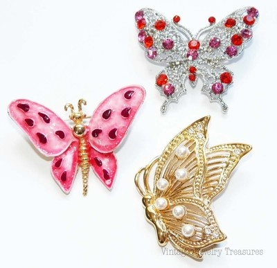 Vintage Lot of 3 Butterfly Pins Enamel Pink Rhinestone Pearl Gold $34