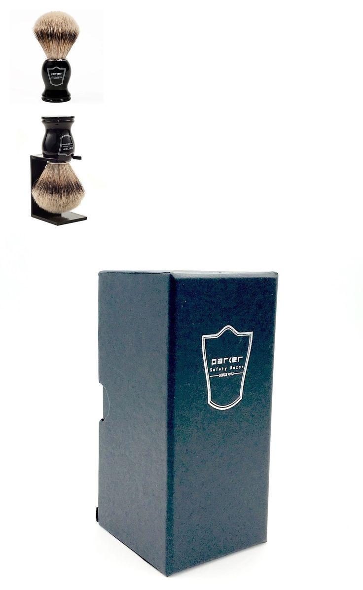 Shaving Brushes and Mugs: Parker Safety Razor Deluxe 100% Silvertip Badger Shaving Brush - Black Handle BUY IT NOW ONLY: $60.99