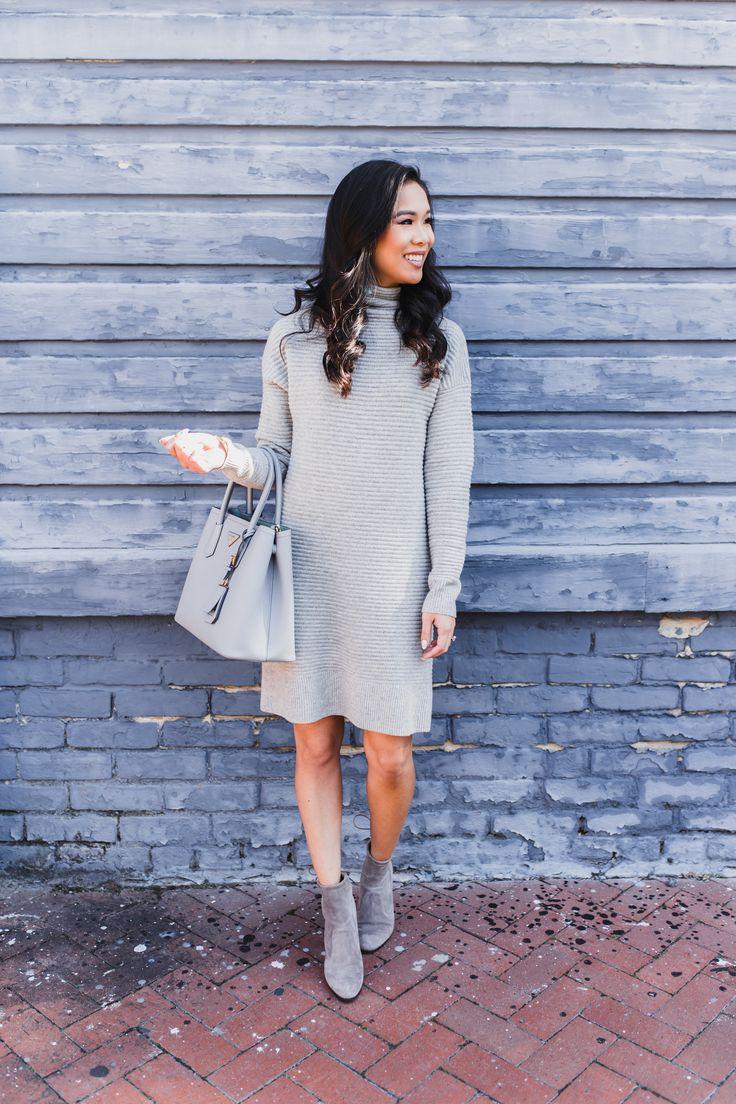 Merino wool sweater dress and mint tassel earrings