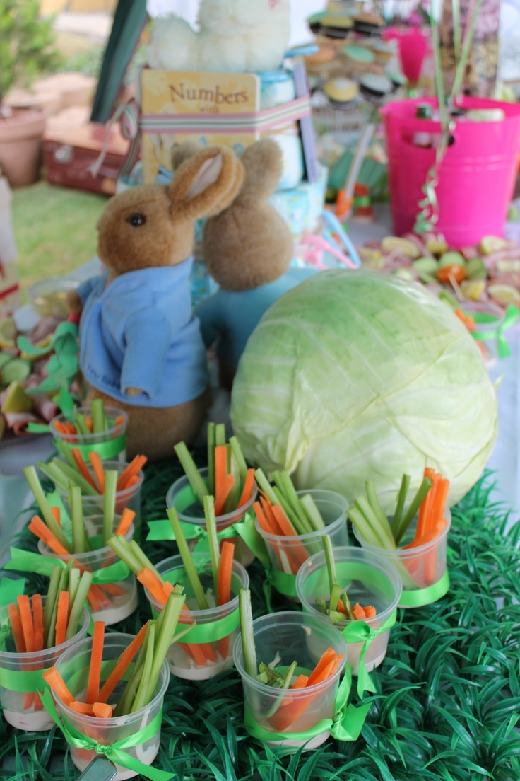 "Carrot and celery stick - ""Bunny chow"" for a Peter Rabbit baby shower"