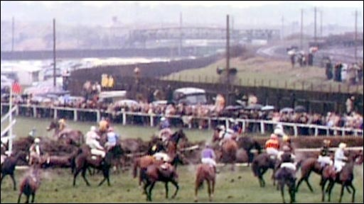 The carnage at the Raiway fence that allowed Foinavon to go on and win the 1967 Grand National at odds of 100/1.