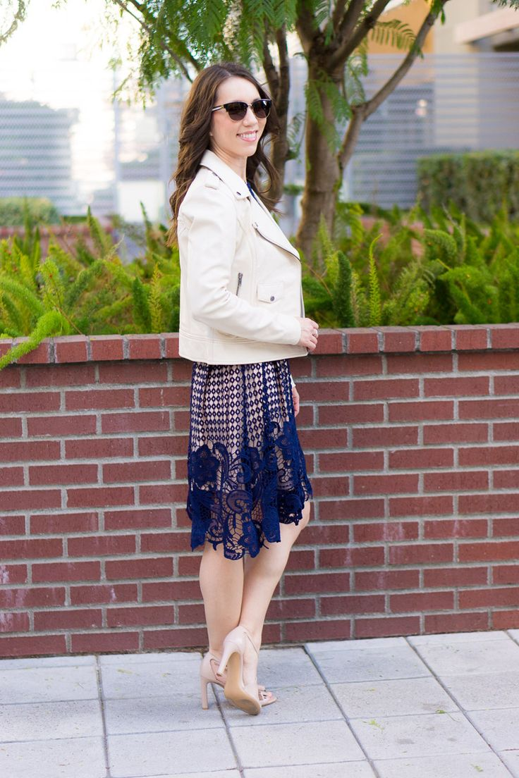How to Style an Ivory Leather Jacket | Spring outfit inspiration | Date night inspiration | What to wear night out with girlfriends | Petite fashion blog | Petite style | Teal green jeans, black tank, ivory jacket | Aqua lace dress navy, ivory leather jacket Ferragamo bow heels