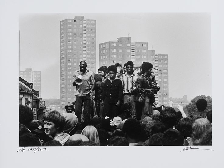 Darcus Howe, Anti-National Front Demonstration, 1977.  Photo credit: Syd Shelton — in Lewisham, Lewisham, United Kingdom.