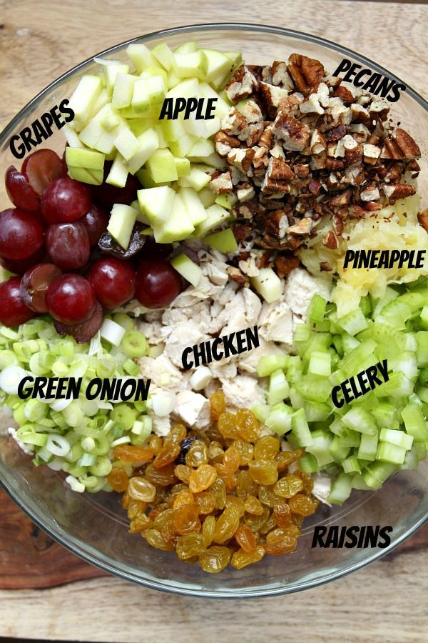 Fruity Curry Chicken Salad - I would skip the curry part, but the rest looks yummy!