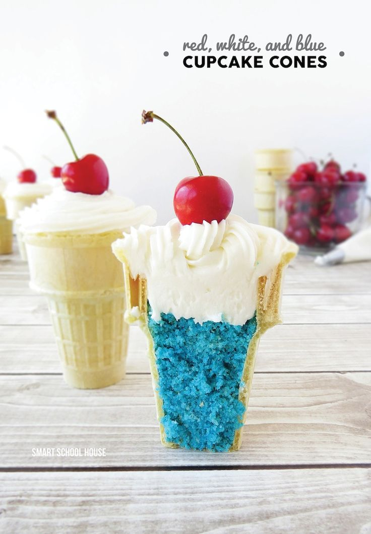 Red, White, and Blue Cupcake Cones! So easy that I can't believe I didn't think of this sooner..