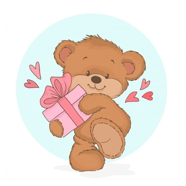 Little Affectionate Teddy Bear Holding A Gift Box Teddy Clipart Lovely Romance Png And Vector With Transparent Background For Free Download
