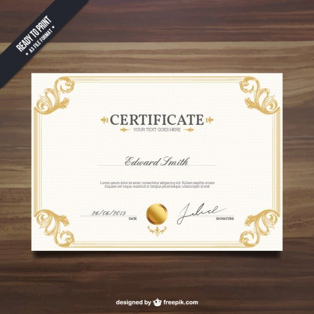 Ornamental certificate template Free Vector