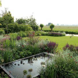 Weelderige landelijke tuin met witte pergola en een verhoogde vijver in de zichtlijn vanuit huis.