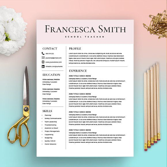 Resume Template - FREE Cover Letter by Kingdom Of Design on @creativemarket