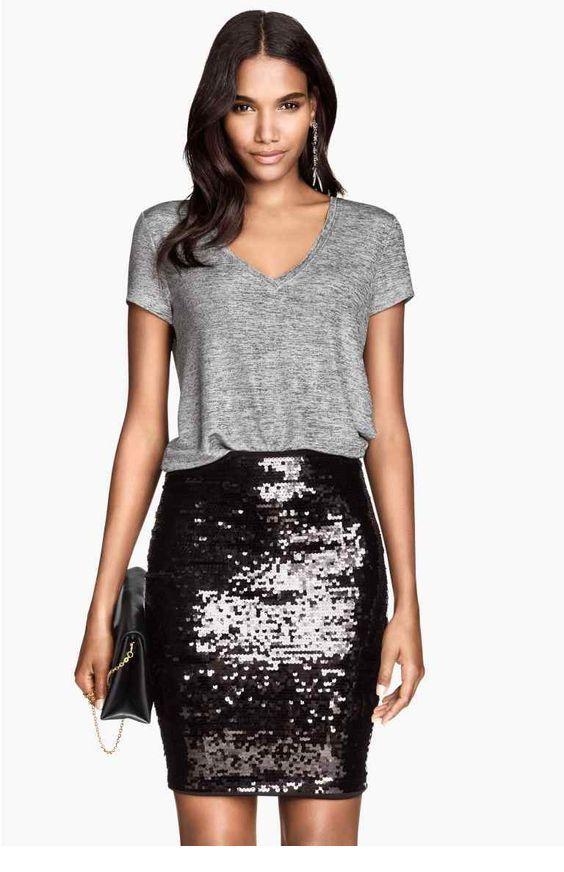 7edd95e0a1 Grey top and black glitter skirt - Miladies.net | simply stylish ...