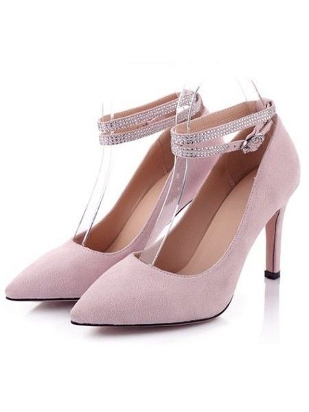 Elegant Rhinestone Ankle Strap Stiletto Heel - stylishplus.com