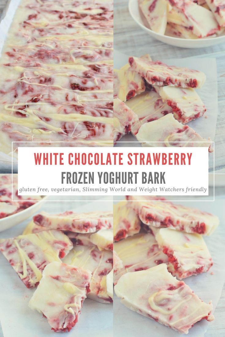 Slimming Eats White Chocolate Strawberry Frozen Yoghurt Bark - gluten free, vegetarian, Slimming World and Weight Watchers friendly