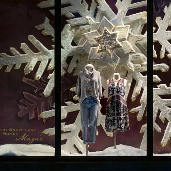 "ANTHROPOLOGIE, ""Do you see it?  It's the first winter snowfall, inside our store windows!"", pinned by Ton van der Veer"