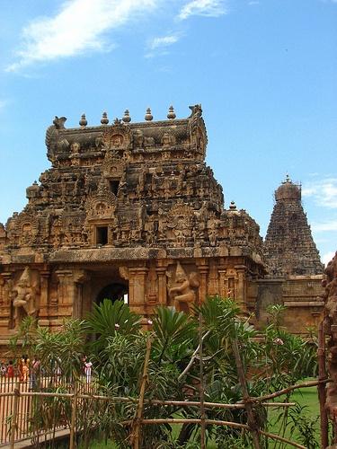 Thanjavur - Tamil Nadu - South India.  Brihadishwara Temple (10th century). Tamil Nadu's most awesome Chola monument. The entrance gopuram were buit with famous Sandstone. Dedicated to Shiva.