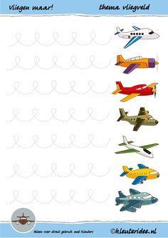 Schrijfpatroon vliegen maar! voor kleuters, thema vliegtuig, juf Petra van kleuteridee,  preschool writing pattern aeroplane, free printable.
