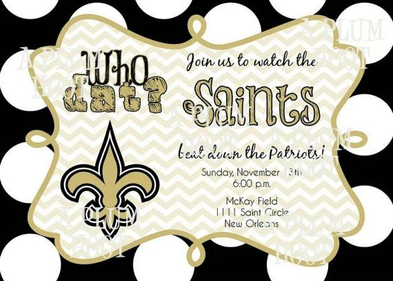 New Orleans Saints Who Dat Football Party Invitation By APlumHoot 1200