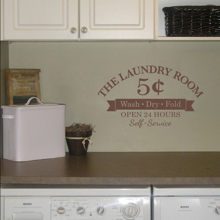 The Laundry Room Wall Decal - 5 cents - Wash Dry Fold - Open 24 Hours - Self-Service - Small
