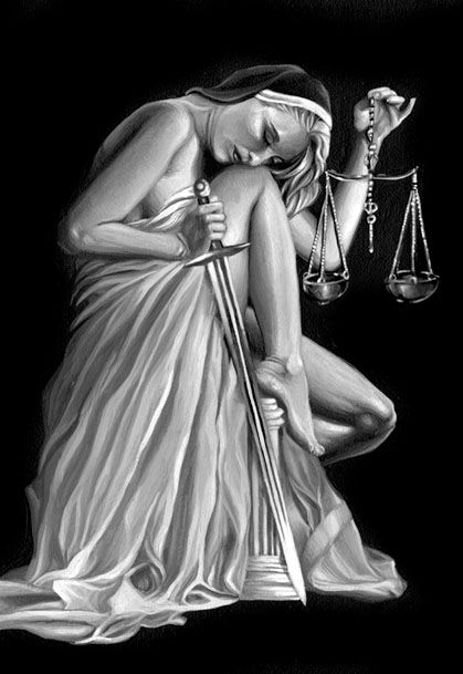 I redesigned Lady Justice, creating a more somber, comtemplative yet Vargas-like representation. Though her eyes are closed, she is not blindfolded, for in this case, justice is not blind.