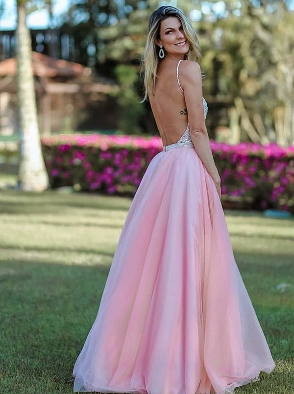 Saia Vestido Claro E Princesa Decote CostasClothes Longo Rosa 8Nyvwmn0O