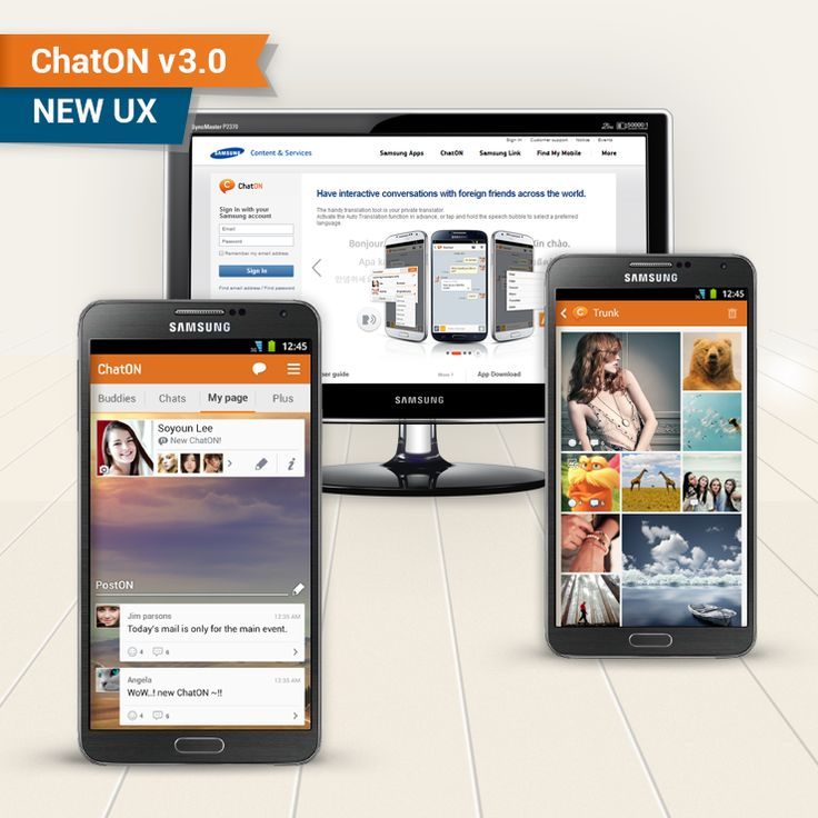 [ChatON Feature] New UX / Main UX upgraded! In the latest ChatON v3.0, you can see more stylish Chat Trunk that has been reformed to the Magazine style.  Also, you can share multimedia contents through the upgraded PostON.  The improvement in the UX led to its rapid accessibility. Look forward to see the new ChatON v3.0  [ChatON Feature] New UX / 메인 UX개편 매거진 스타일로 확 달라진 트렁크, 텍스트뿐만아니라 멀티미디어도 공유할 수 있게 강력해진 PostON,  전반적으로 새 옷을 예쁘게 갈아 입은 ChatON 메인 UX까지! 새롭게 개선된 ChatON v3.0이 곧 업데이트 됩니다. 기대해주세요!