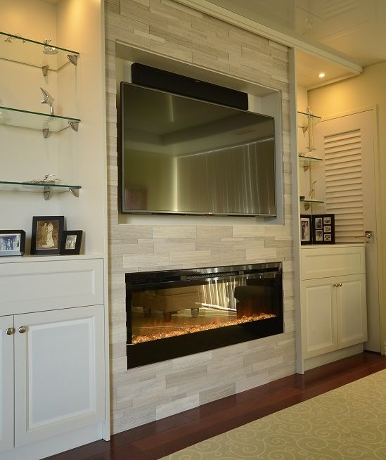 Condo #fireplace Wall, With Custom Cabinetry For Electronics, Silver Fox  Stone Around Electric