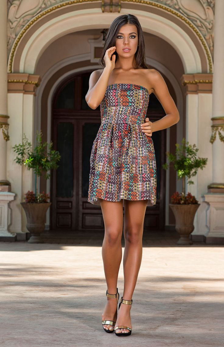 Stand out from the crowd with the Valeray tribal print cocktail dress. A perfect tailored style that can be worn day or night. Exclusive to Vero Milano. http://www.veromilano.com/shop/best-sellers/dresses/valeray/