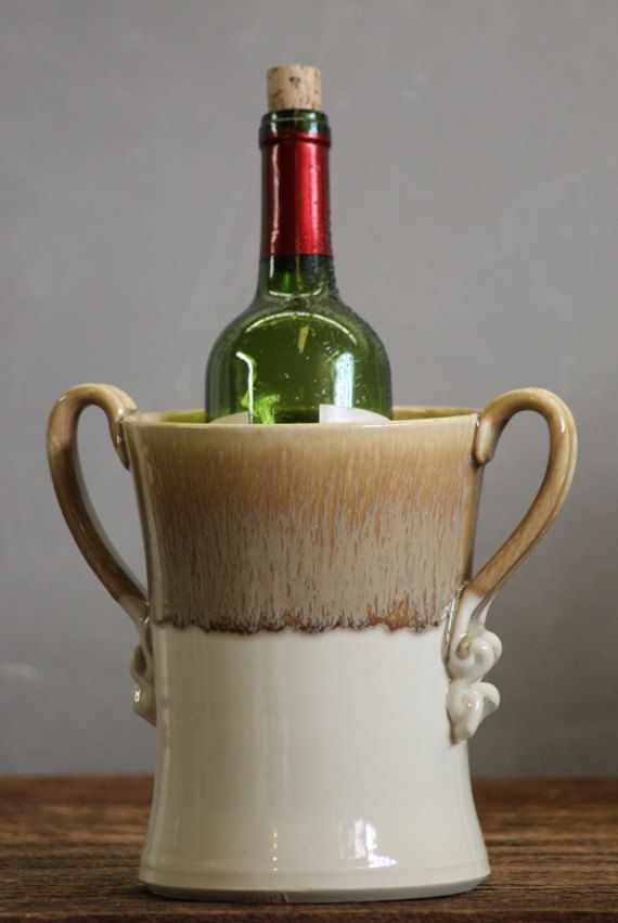 Wine Chiller Utensil Holder White Caramel brown by AviorPottery, $42.00