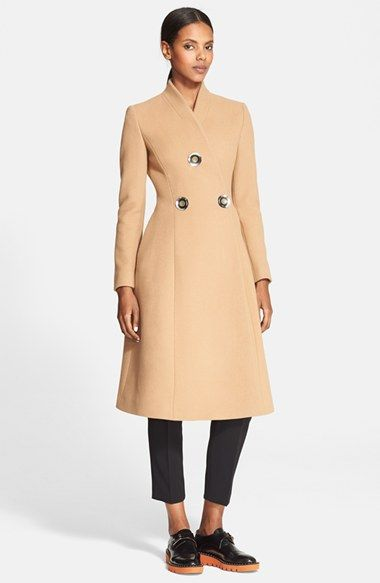 Stella McCartney Three-Button A-Line Wool Blend Coat available at #Nordstrom