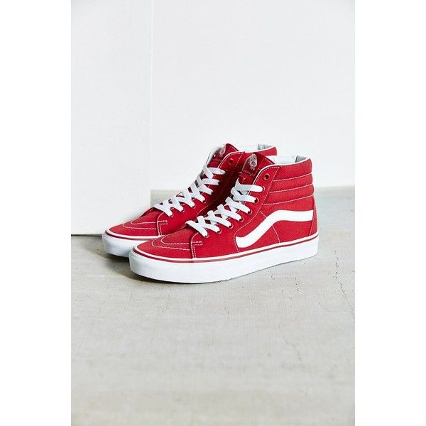 Vans Sk8-Hi Seasonal Sneaker ($60) ❤ liked on Polyvore featuring shoes, sneakers, red, hi tops, red high tops, red trainer, high top sneakers and red hi tops