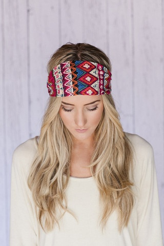 Red Tribal Wide Headband Cotton Aztec Head Wrap   three bird nest  #threebirdnest #springintoit