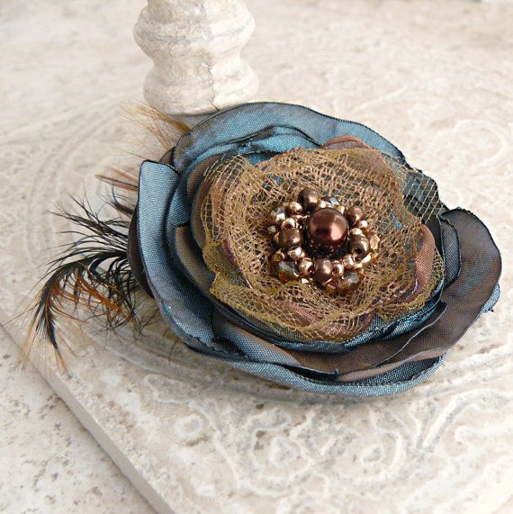 Layered Flower Brooch...love the feathers!