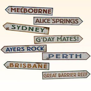 """Australian Street Sign Cutouts by Century Novelty. $4.59. Welcome to the Outback! The Australian street signs are perfect for safari and down under party decorating. No matter what your event these Outback decorations will be sure to make it a hit. Four street signs per package. 3 3/4"""" long and 24"""" wide. Made of cardstock. Printed on both sides. Outback decorations like this is perfect for Vacation Bible School, safari parties and any Australia event. Part of Decorations..."""