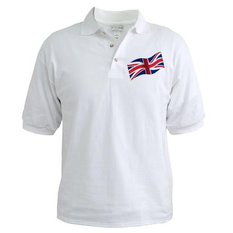 'Waving The Flag' Golf Shirt    http://www.cafepress.com/britshop.639531595    Tee off in casual style. Our pique knit golf t-shirt is a comfortable, lightweight way to play 18-holes & beat the heat. Features, stylish white pearl buttons, yet it feels like wearing your favorite t-shirt.    - Pre-shrunk extra heavyweight 5.4 oz 100% ring spun cotton pique  - Knit collar and welt cuffs  - Side seamed with even finish vents $22.99