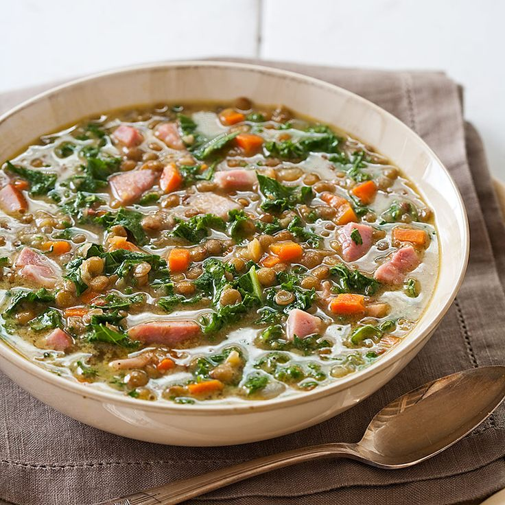 Lentil Soup with Ham ~ Uses chicken broth instead of water. Sautéing the lentils with the vegetables allows them to cook evenly & prevents the lentils from blowing out & turning to mush, plus browning them first in oil enhances their flavor.