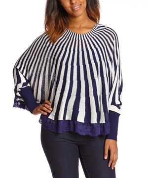 This Blue & White Stripe Poncho by Love 4 Luck is perfect! #zulilyfinds