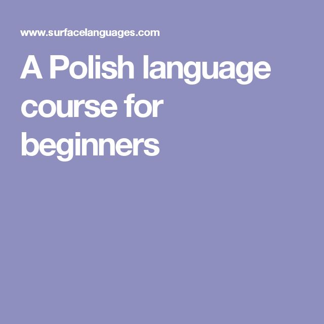 A Polish language course for beginners