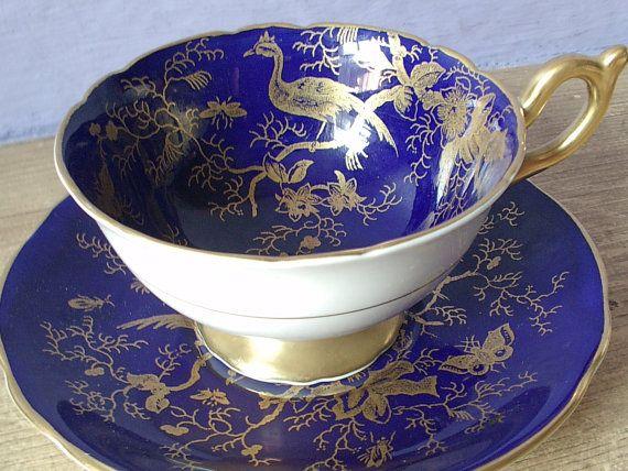 Antique Coalport English tea cup set vintage blue by ShoponSherman,